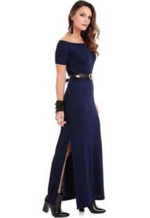 Vestido Gola Canoa Feminino - Feminino-Azul
