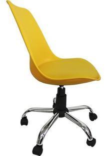 Cadeira Secretaria Amarela Assento Revestido Em Couro Pu - Pelegrin