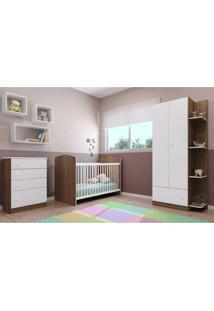 Quarto Infantil Completo Doce Sonho Multimóveis Com Guarda Roupa, Cômoda E Berço Argila/Branco