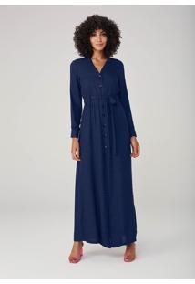 Vestido Longo Poá Com Botões - Azul