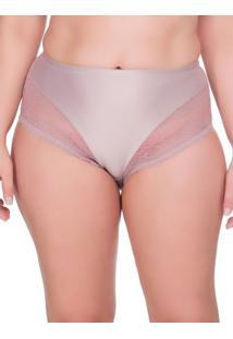 Calcinha Renda Microfibra Plus Size - Rosa Pó - 2Xl