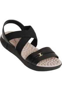 Sandália Modare Preta Com Elástico