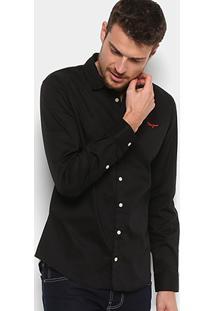 Camisa Coca Cola Camisa Slim Lisa Com Bordado 313200602 - Masculino-Preto