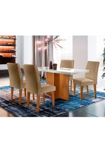 Conjunto De Mesa De Jantar Berlim I Com Tampo De Vidro Off White E 4 Cadeiras Grécia Linho Turim