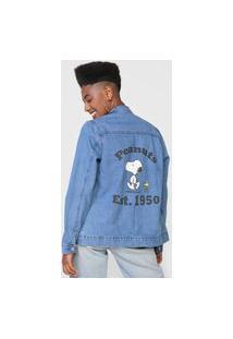 Jaqueta Jeans Snoopy By Fiveblu College Azul
