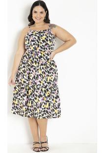 Vestido De Alças Animal Print Plus Size