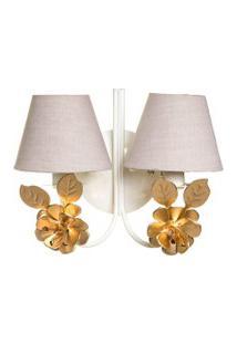Arandela 2 Lâmpadas Flores Grandes Douradas Quarto Bebê Infantil Potinho De Mel Dourado