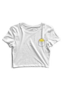 Blusa Blusinha Cropped Tshirt Camiseta Feminina Bolsinho Smile Branco