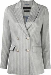 Circolo 1901 Pinstripe Linen-Blend Blazer - Azul