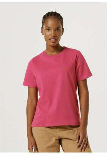 Blusa Feminina Manga Curta Regular Word Rosa
