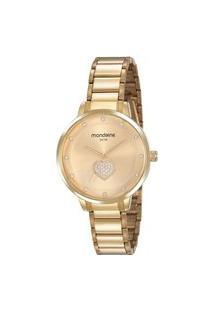 Kit Relógio Feminino Mondaine Analógico 53863Lpmvde1Kl + Pulseira Dourado