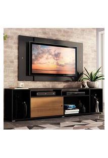 Rack Madesa Cancun E Painel Para Tv Até 58 Polegadas - Preto/Rustic D88N Preto