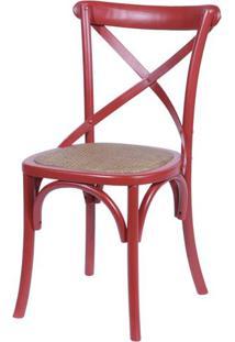 Cadeira Katrina Vermelha Laqueada Com Assento Rattan - 30751 Sun House