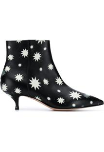 Red Valentino Red(V) Star Print Ankle Boots - Preto
