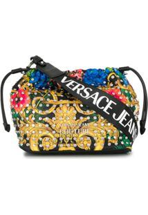 Versace Jeans Couture Bolsa Tiracolo Com Estampa Barroca E Tachas - Preto