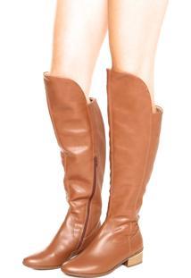 Bota Over The Knee Comfortflex Texturizada Caramelo