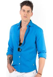 Camisa Manga Longa R.Mendes Linho Azul Kite
