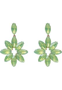 Brinco Le Briju Metal Com Flor De Chatons Dourado Gotina Verde