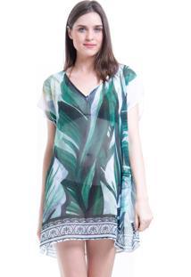 Blusa 101 Resort Wear Tunica Decote V Crepe Estampada Folhas Verdes - Verde - Feminino - Dafiti