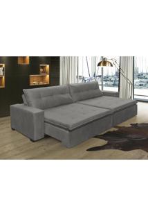 Sofá Retrátil, Reclinável Oklahoma 2,62M, Molas E Pillow No Assento Tecido Suede Cinza Cama Inbox