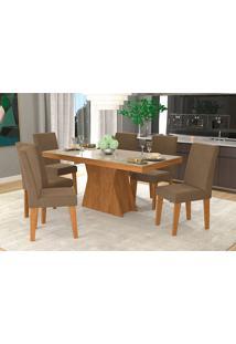 Conjunto De Mesa Para Sala De Jantar C/ Vidro Temperado E 6 Cadeiras Olivia/Milena - Cimol - Savana / Off White / Chocolate