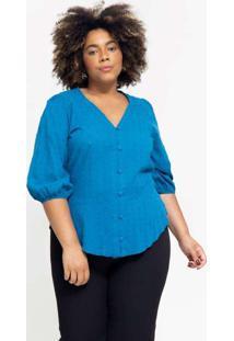 Blusa Ampla Almaria Plus Size Pianeta Devorê Azul