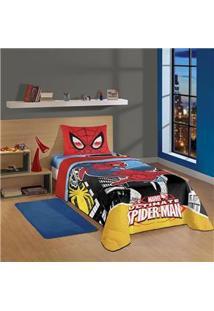 Edredom Solteiro Infantojuvenil Lepper Spider-Man Ultimate Em Algodão 150 Fios Com 1 Peça - Colorido