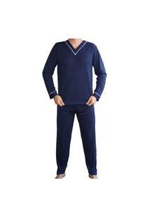 Pijama Masculino Adulto Longo Calça Comprida Manga Longa Inverno - Azul Marinho