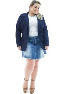 Blazer Confidencial Extra Plus Size Jeans Alongado Com Elastano Feminino - Feminino-Marinho