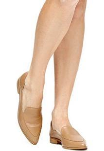 Sapatilha Couro Shoestock Recortes Feminina - Feminino