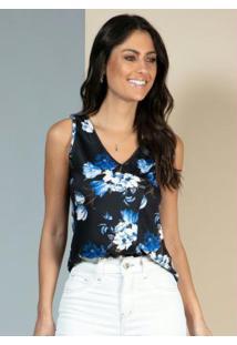 Blusa Floral Azul Com Falso Transpasse
