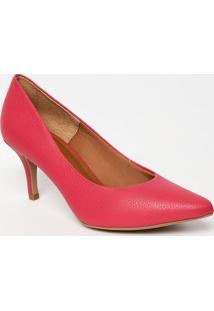 Scarpin Em Couro Com Tag Metálica- Pink- Salto: 7Cmmorena Rosa