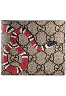 Gucci Carteira Gg Supreme Com Estampa 'Kingsnake' - Neutro