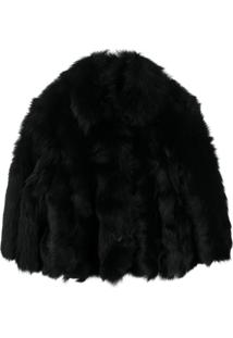 Red Valentino Furry Cropped Jacket - Preto