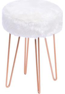 Puff Glamour- Branco & Rosê Gold- 40Xø28Cm- Or Dor Design