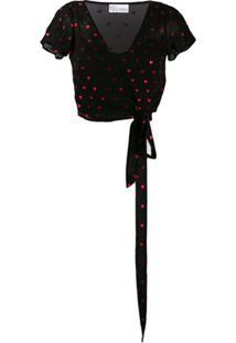 Red Valentino Blusa Com Estampa De Coração - Preto