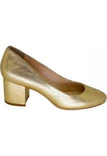 Scarpin Salto Bloco Bico Redondo Marjorie Feminino - Feminino-Dourado