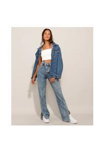 Calça Reta Jeans Cut Out Com Fendas Cintura Super Alta Marmorizada Azul Médio