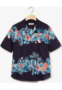 Camisa Lacoste Regular Fit Feminina - Feminino-Azul Navy