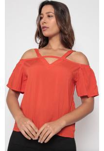 Blusa Com Ombros Vazados- Vermelha- Arsenalarsenal