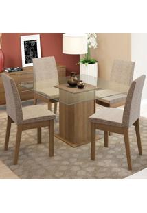 Conjunto Sala De Jantar Madesa Luma Mesa Tampo De Vidro Com 4 Cadeiras Marrom - Tricae
