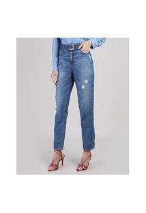 Calça Jeans Mom Cintura Super Alta Com Rasgos E Cinto Azul Médio