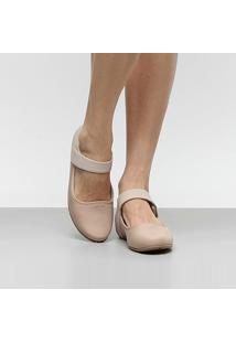 Sapatilha Comfortflex Pulseira Velcro Feminina - Feminino-Bege