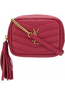 Saint Laurent Bolsa Mini Com Estampa Monogramada De Couro - Vermelho