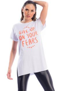 """Blusa """"Give Up On Your Fears"""" - Branca & Salmã£O - Susuper Hot"""