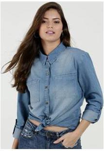 Camisa Feminina Jeans Manga Longa Marisa
