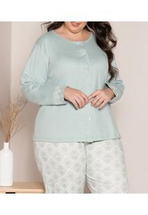 Pijama Longo Aberto 100% Algodão Pzama (90010) Plus Size