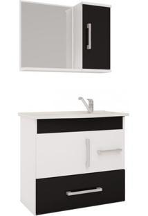 Gabinete Para Banheiro Com Cuba E Espelheira Fortaleza Mgm Móveis Branco/Preto