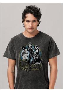 Camiseta Bandup Marmorizada Queen In Concert - Masculino-Preto