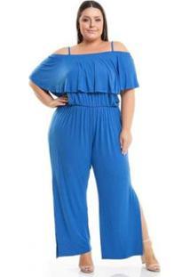 Macacão Beline Plus Size Viscolycra Azul Com Babado Miss Masy - Feminino-Azul